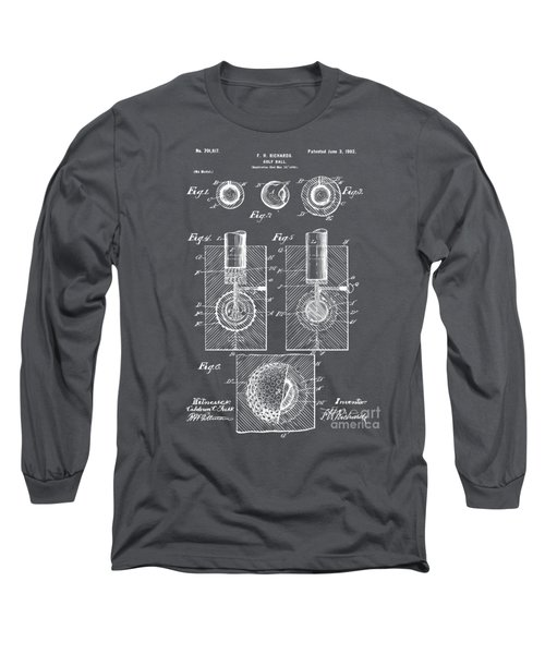 1902 Golf Ball Patent Artwork - Gray Long Sleeve T-Shirt by Nikki Marie Smith