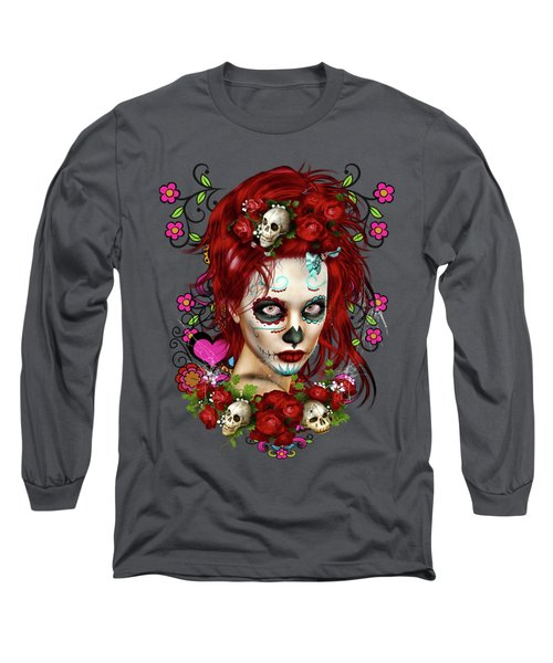 Sugar Doll Red Long Sleeve T-Shirt by Shanina Conway