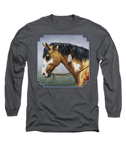 Buckskin Native American War Horse Long Sleeve T-Shirt