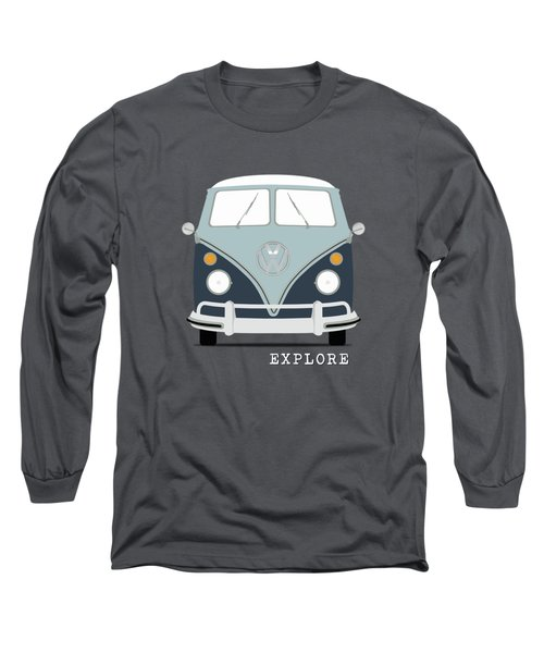 Vw Bus Blue Long Sleeve T-Shirt by Mark Rogan