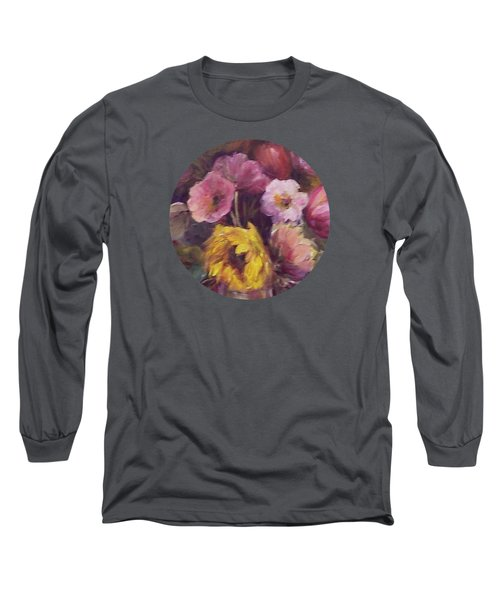 Abundance- Floral Painting Long Sleeve T-Shirt by Mary Wolf