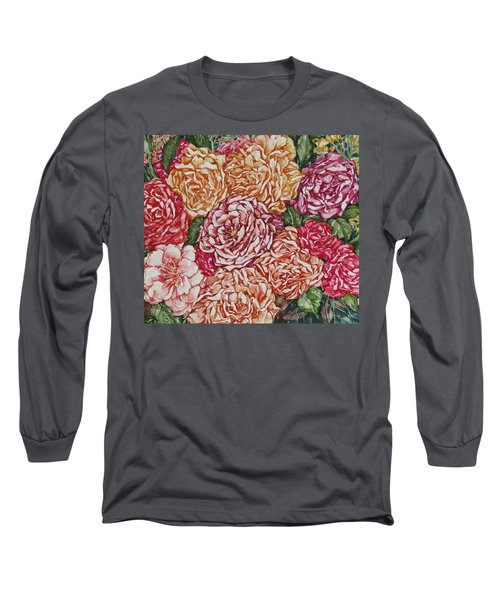 Flowers And Fruit Arrangement Long Sleeve T-Shirt by Kim Tran
