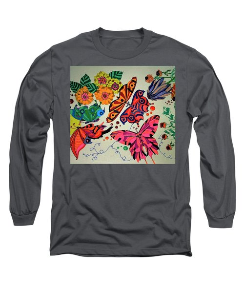 Long Sleeve T-Shirt featuring the painting Eyes Of The Butterflies by Alison Caltrider