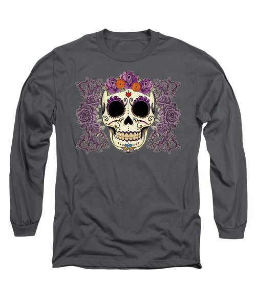 Vintage Sugar Skull And Roses Long Sleeve T-Shirt by Tammy Wetzel