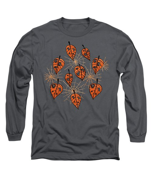 Orange Leaves With Holes And Spiderwebs Long Sleeve T-Shirt