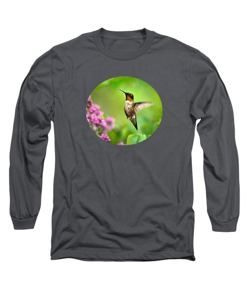 Welcome Home Hummingbird Long Sleeve T-Shirt by Christina Rollo
