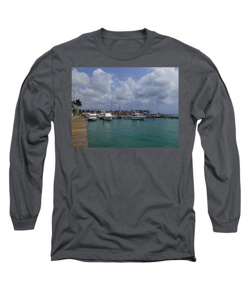 Long Sleeve T-Shirt featuring the photograph Aruba Marina by Lois Lepisto