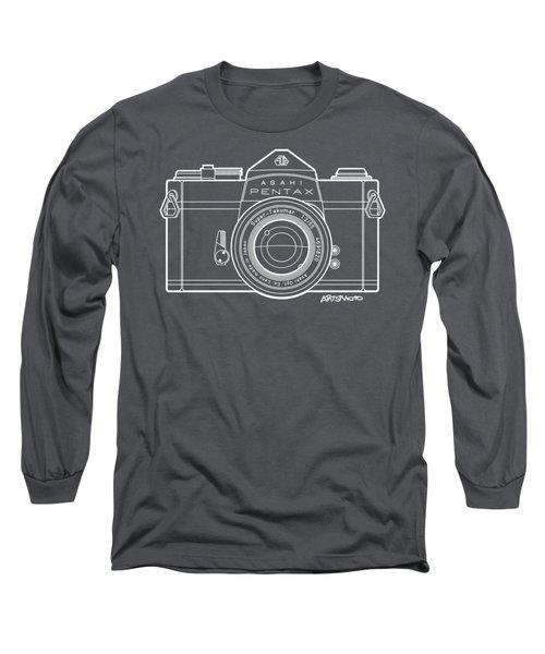 Asahi Pentax 35mm Analog Slr Camera Line Art Graphic White Outline Long Sleeve T-Shirt by Monkey Crisis On Mars