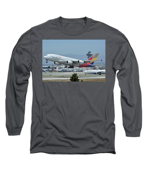 Long Sleeve T-Shirt featuring the photograph Asiana Airbus A380-800 Hl7626 Los Angeles International Airport May 3 2016 by Brian Lockett