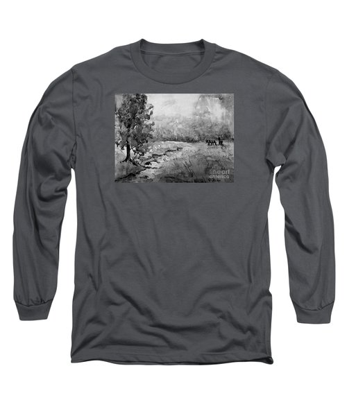 Long Sleeve T-Shirt featuring the painting Aska Farm Horses In Bw by Gretchen Allen