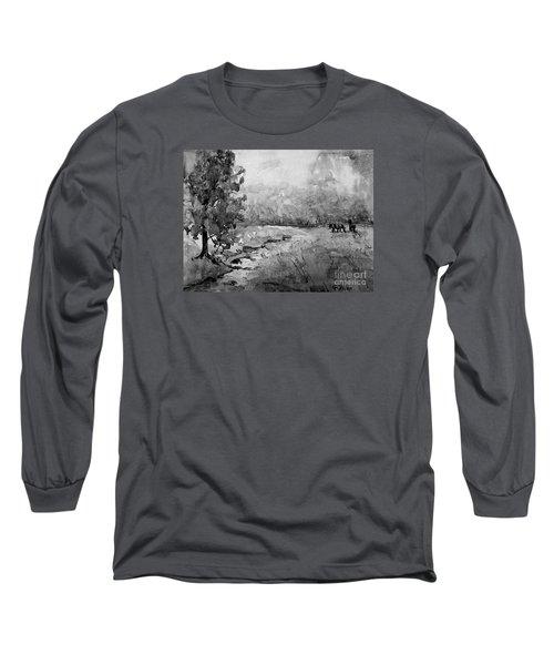 Aska Farm Horses In Bw Long Sleeve T-Shirt by Gretchen Allen
