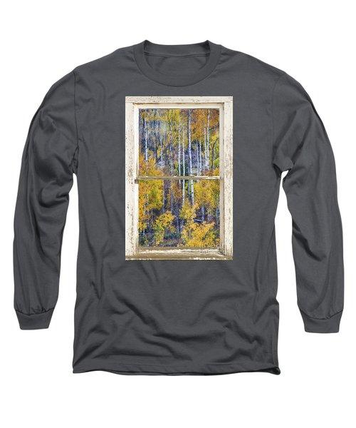 Aspen Tree Magic Cottonwood Pass White Farm House Window Art Long Sleeve T-Shirt by James BO  Insogna