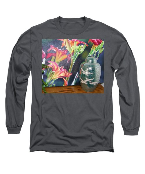 At One With Flowers And Swallows Long Sleeve T-Shirt by Lenore Senior