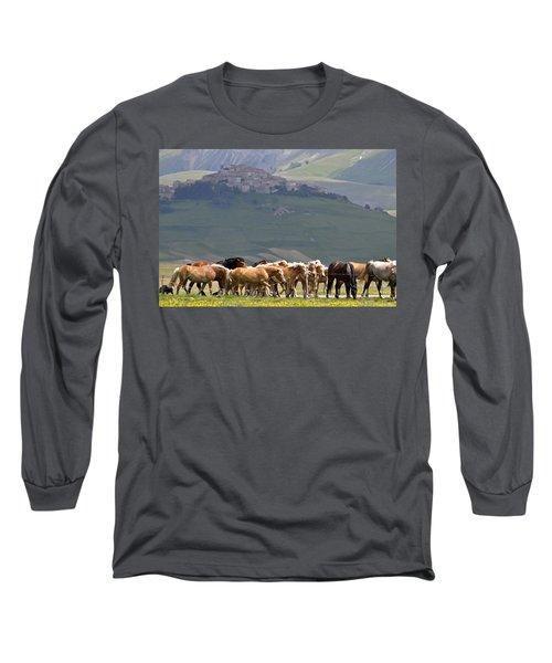 Long Sleeve T-Shirt featuring the photograph Castelluccio Di Norcia, Parko Nazionale Dei Monti Sibillini, Italy by Dubi Roman