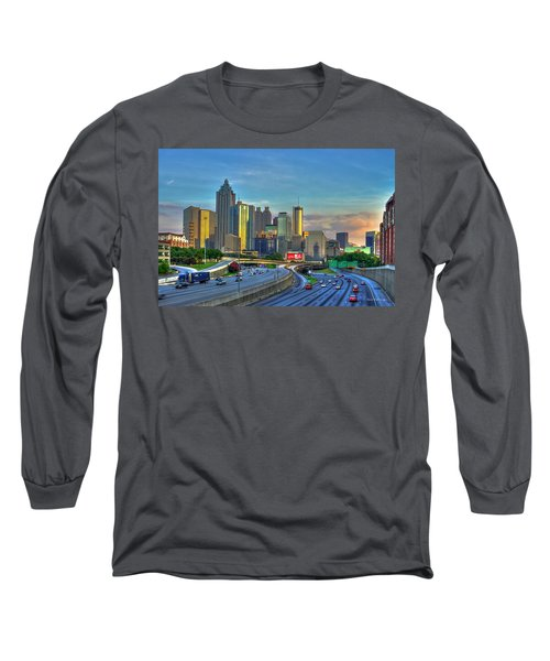 Atlanta Coca-cola Sunset Reflections Art Long Sleeve T-Shirt