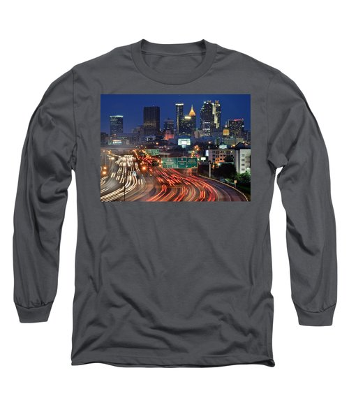 Atlanta Heavy Traffic Long Sleeve T-Shirt by Frozen in Time Fine Art Photography