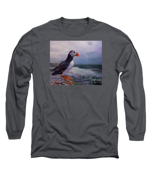 Atlantic Puffin Long Sleeve T-Shirt by Jim  Hatch