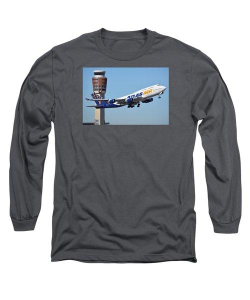 Atlas Air Boeing 747-446 N465mc Phoenix Sky Harbor January 12 2015 Long Sleeve T-Shirt by Brian Lockett