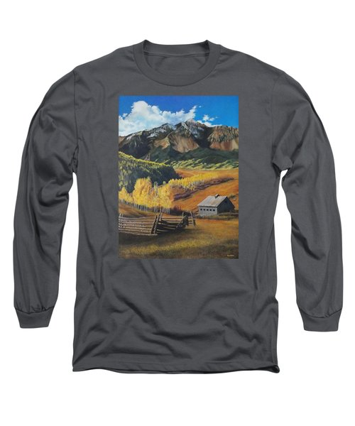 Long Sleeve T-Shirt featuring the painting Autumn Nostalgia Wilson Peak Colorado by Anastasia Savage Ealy