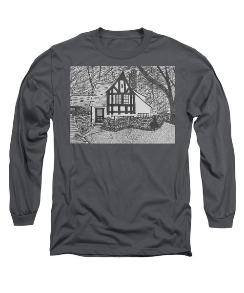 Long Sleeve T-Shirt featuring the drawing Aunt Vizy's House by Lenore Senior