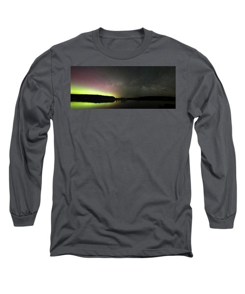 Aurora Borealis And Milky Way Over Yellowstone River Long Sleeve T-Shirt