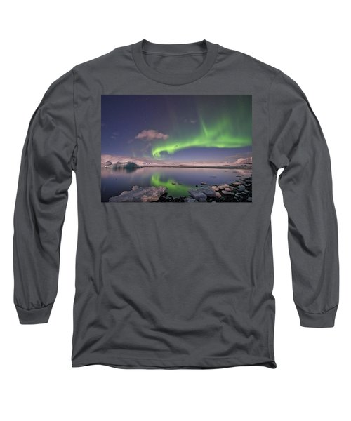 Long Sleeve T-Shirt featuring the photograph Aurora Borealis And Reflection #2 by Wanda Krack