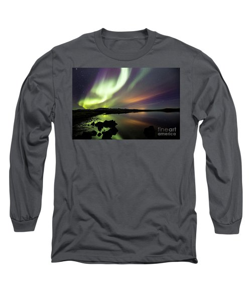 Aurora Borealis Over Thinvellir Long Sleeve T-Shirt