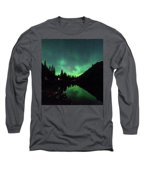 Aurora On Moraine Lake Long Sleeve T-Shirt by Alex Lapidus