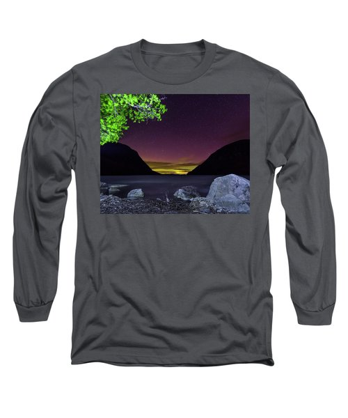 Aurora Over Lake Willoughby Long Sleeve T-Shirt by Tim Kirchoff