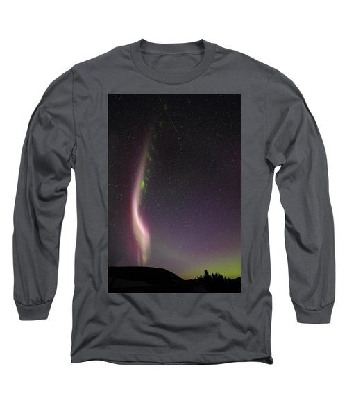 Auroral Phenomonen Known As Steve With A Large Meteor Long Sleeve T-Shirt