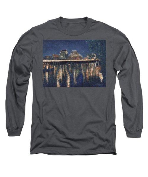 Long Sleeve T-Shirt featuring the painting Austin At Night by Felipe Adan Lerma