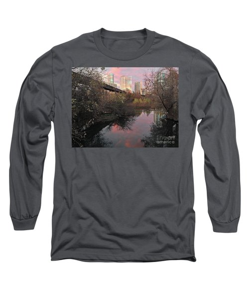 Austin Hike And Bike Trail - Train Trestle 1 Sunset Triptych Right Long Sleeve T-Shirt by Felipe Adan Lerma