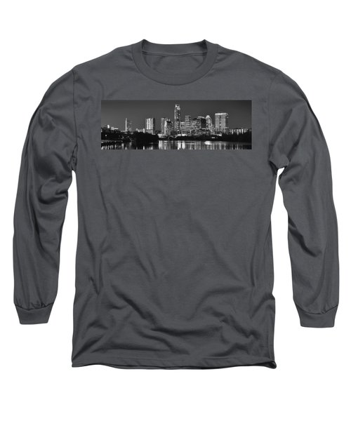 Austin Skyline At Night Black And White Bw Panorama Texas Long Sleeve T-Shirt by Jon Holiday