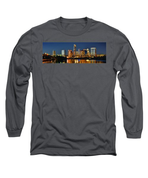 Austin Skyline At Night Color Panorama Texas Long Sleeve T-Shirt