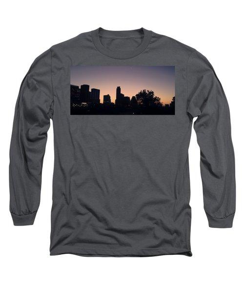 Austin Skyline Sunrise Into A Crescent Moon Panorma Long Sleeve T-Shirt