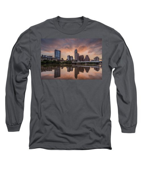 Austin Skyline Sunrise Reflection Long Sleeve T-Shirt by Todd Aaron