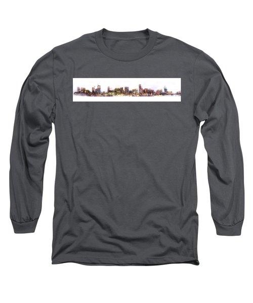 Austin Texas Skyline With White Blackground  Long Sleeve T-Shirt