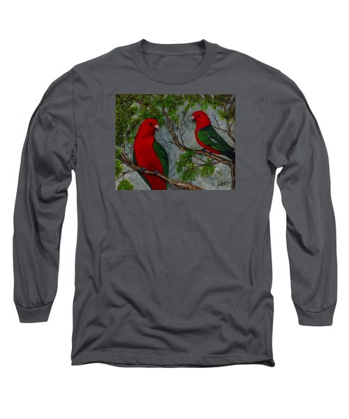 Long Sleeve T-Shirt featuring the painting Australian King Parrot by Renate Voigt