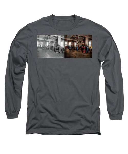 Long Sleeve T-Shirt featuring the photograph Autobody - The Bodyshop 1916 - Side By Side by Mike Savad