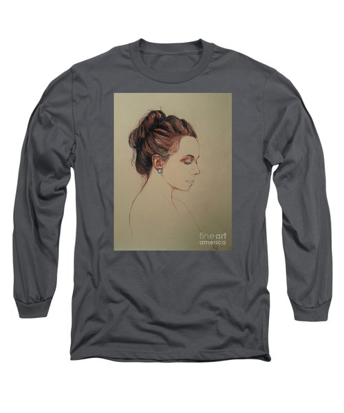Long Sleeve T-Shirt featuring the drawing Autoportrait Maja Sokolowska by Maja Sokolowska