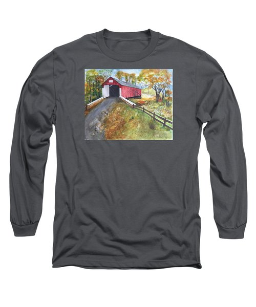 Long Sleeve T-Shirt featuring the painting Autumn Afternoon At Knechts Covered Bridge by Lucia Grilletto