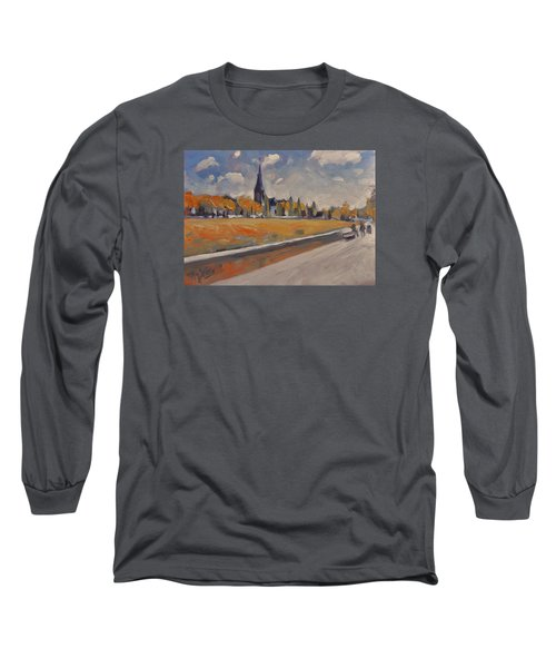 Long Sleeve T-Shirt featuring the painting Autumn Along The Griend by Nop Briex