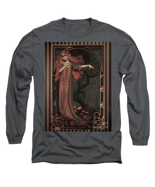 Autumn Art Nouveau  Long Sleeve T-Shirt by Shanina Conway