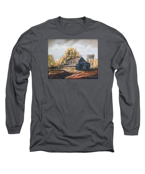 Long Sleeve T-Shirt featuring the painting Autumn Barnyard by Sherril Porter