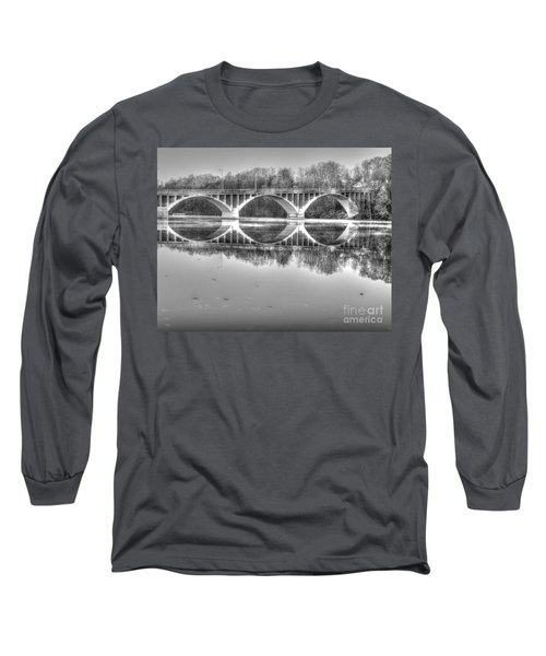 Autumn Bridge Reflections In Black And White Long Sleeve T-Shirt