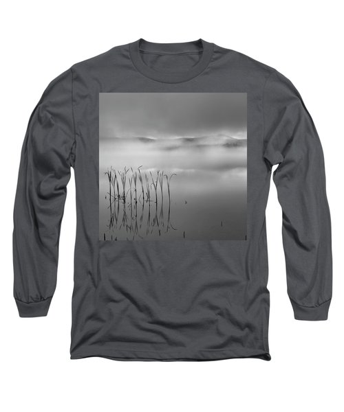 Long Sleeve T-Shirt featuring the photograph Autumn Fog Black And White Square by Bill Wakeley