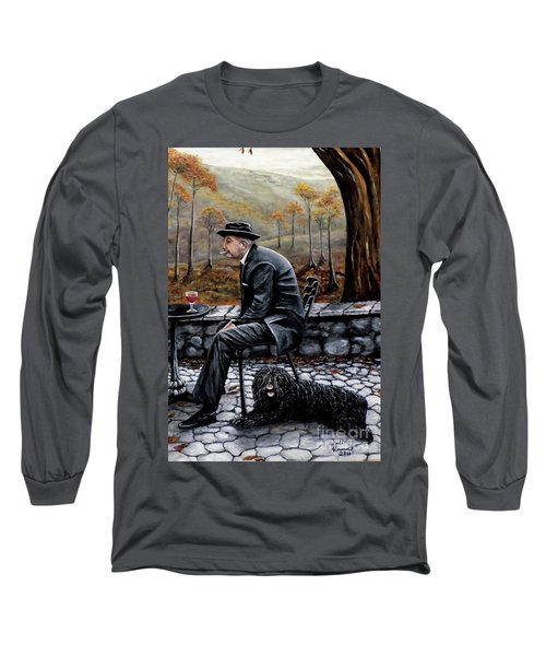 Long Sleeve T-Shirt featuring the painting Autumn Friends by Judy Kirouac