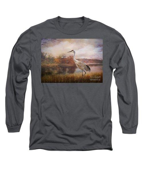 Autumn Lake Crane Long Sleeve T-Shirt