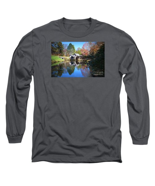 Autumn On The Blue Ridge Parkway At Mabry Mill Long Sleeve T-Shirt by Nature Scapes Fine Art