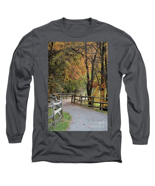 Autumn Path In Park In Maryland Long Sleeve T-Shirt